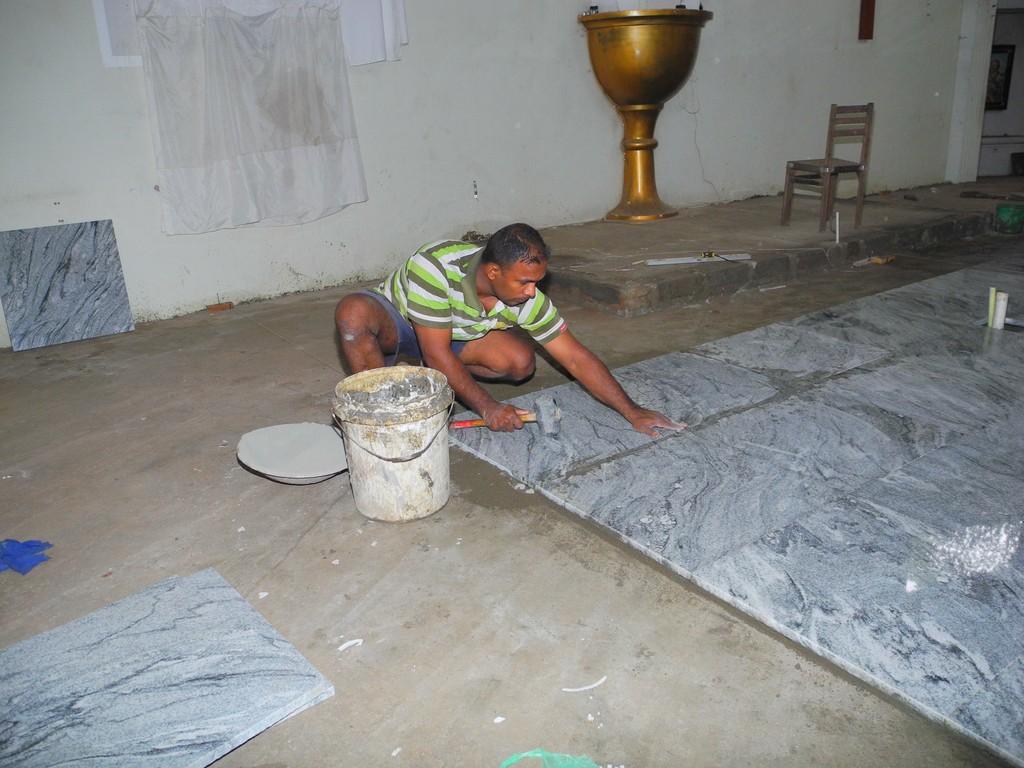 Queen Of Angels Church - Image Viewer - Installing granite floor ...